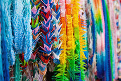 Close up of colorful origami offerings Royalty Free Stock Images