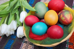 Close up of colorful painted easter eggs Royalty Free Stock Photography