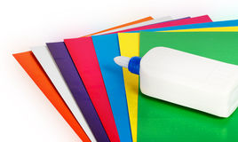 Close up colorful paper with glue Royalty Free Stock Photography