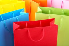 Close up of colorful paper shopping bags royalty free stock photography