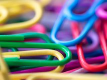 Close up of colorful of paperclip concept of colorful background. Stock Image