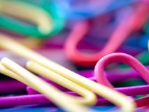 Close up of colorful of paperclip concept of colorful background. Stock Photo