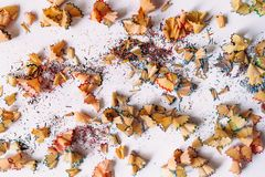 Close up colorful pencil shavings stock photos