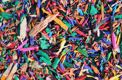 Close-up colorful pencil shavings Royalty Free Stock Photography