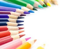 Close up of colorful pencils on white background Stock Photos