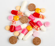 Close up colorful pills isolated on white Royalty Free Stock Images