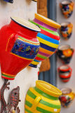 Close up colorful pottery displayed on shop entrance at Frigiliana, Spain Stock Photos