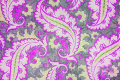 Lovely botanic paisley pattern. A close up of a colorful printed shabby chic  paisley pattern in mauve and grey Stock Photo