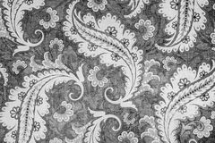 Lovely botanic paisley pattern. A close up of a colorful printed shabby chic  paisley pattern in shades of grey Stock Photography
