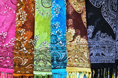 Close up of colorful scarves Stock Image