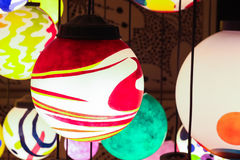 Close up colorful shining hanging lamp ball Royalty Free Stock Images