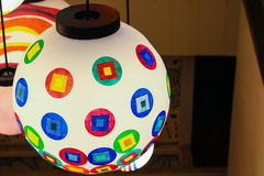 Close up colorful shining hanging lamp ball Stock Images