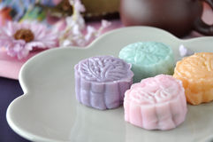 Close up Colorful Snow Skin Mooncake Stock Photography