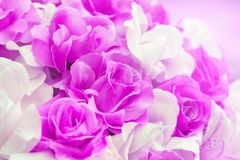 Close up colorful of soft pink rose fabric artificial wedding flowers. Backdrop decoration stock image