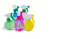 Close up of colorful spray bottles Royalty Free Stock Photos