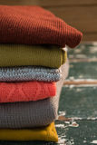 Close up of colorful stack of sweaters Stock Photography