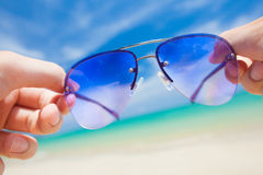 Close up of colorful sunglasses. tropical Thailand Royalty Free Stock Photography