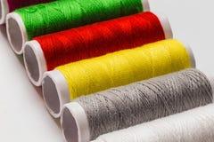 Close up colorful thread bobbin Stock Photos
