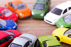 Close up of colorful toy cars. Shallow DOF. Royalty Free Stock Photography