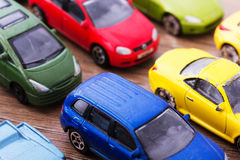 Close up of colorful toy cars. Shallow DOF. Stock Image
