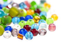 Close up on colorful translucent beads Royalty Free Stock Photos