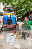 Close-up of colorful Tuk-Tuk vehicles in Bangkok, Thailand royalty free stock photo