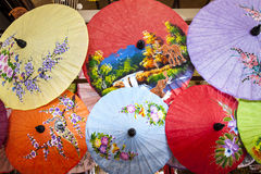 Close up of colorful umbrellas. Royalty Free Stock Photo