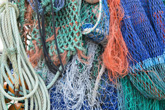 Close up on colorful and various fishing nets and ropes Royalty Free Stock Photos