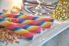 Close up Colorful Wafer Roll Royalty Free Stock Photography