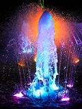 Close-up of a colorful water fountain operated in Manila. Close-up of a beautiful colorful water fountain operated at nighttime in Manila, Philippines royalty free stock image