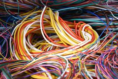 Close up of colorful wires. Chaotic network Royalty Free Stock Photos