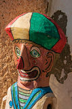 Close-up of colorful wooden puppet reminding a clown in Paraty. stock photo