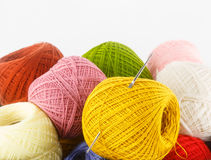 Close up of colorful yarn on white background Stock Image