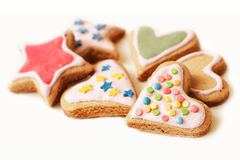 Close up colorido das cookies do Natal fotos de stock royalty free