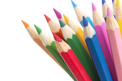 Close-up colorido dos lápis isolado no fundo branco Fotos de Stock