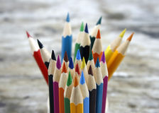 Close up colour pencils Royalty Free Stock Image