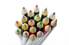Close up Colour pencils isolated Royalty Free Stock Photography