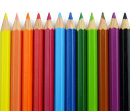 Close up of Colour pencils isolated on white background Royalty Free Stock Photo