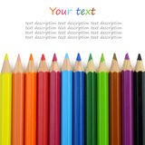 Close up of Colour pencils isolated on white background Royalty Free Stock Photography