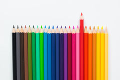 Close up colour wooden pencils  on wood background Royalty Free Stock Photography