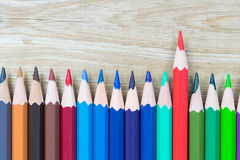 Close up colour wooden pencils  on wood background Royalty Free Stock Image