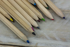 Close up of coloured pencils royalty free stock photography