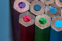 Close up of colored pencils stock photo
