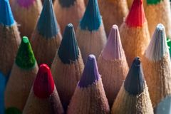 Close up  of coloured pencils Royalty Free Stock Image