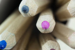 Close up of coloured pencils stock images