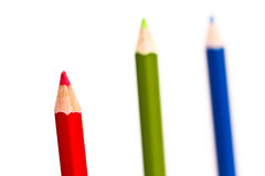 Close-up coloured pencils. Close-up image of coloured pencils on white background Royalty Free Stock Images