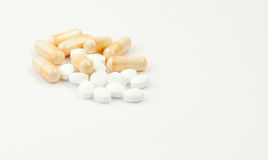 Close up of coloured pills Royalty Free Stock Photos