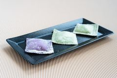 Close up of coloured raviolis stock photography