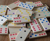 Domino game on wood background royalty free stock photos