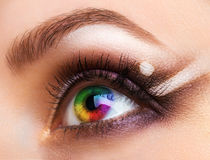 Close up Colourful human eye with makeup stock photo